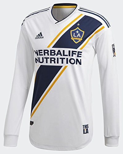 adidas LA Galaxy 2018 Home LS Authentic Jersey- White/Navy L