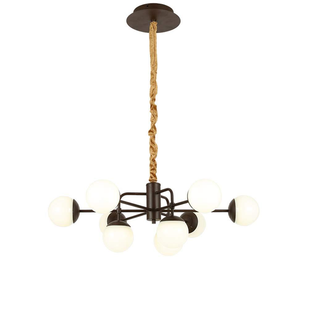 DECORATZ Brown LED Magic Bean Aluminum Chandelier Ceiling Light, Metal Wrought Iron Acrylic Lampshade Restaurant Bedroom Living Room Lighting Fixture-D90H+90CM