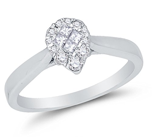 Size 8.75 - 14K White Gold Princess Cut & Round Diamond Engagement Ring - Prong Set Pear Center Setting Shape (1/4 cttw.) - Pear Cut Diamond Solitaire Setting