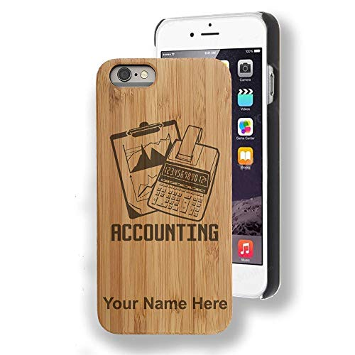 (Bamboo case Compatible with iPhone 7 Plus and iPhone 8 Plus, Accounting, Personalized Engraving Included)