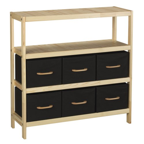 Household Essentials Natural Wood Frame Storage Unit with 3 Shelves and 6 Removable Black Bins