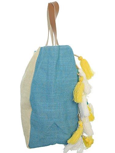 Jute 22158 BLEU Cabas Lollipops Toile de shopper Blanc ZACTUS Sac 87waxqZ0P