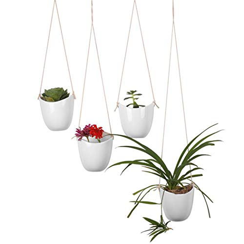 GAQUNH Ceramics Plant Hanger Indoor Pot Wall Art Outdoor Hanging Plant Holder Hanging Planter Stand Flower Pots for Decorations Great for Succulent Plants, Air Plant, Mini Cactus,White,4 Pack