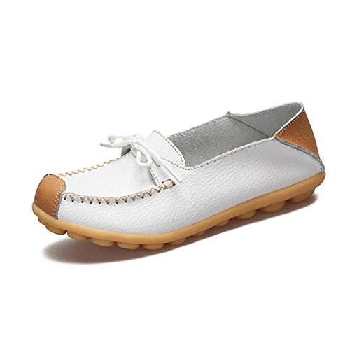 Transer Ladies Leisure Soft Flats Shoes, Women Slip on Work Loafers, Comfortable Leather Lazy Shoes White