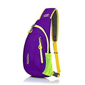 Shoulder Backpack, Sunhiker C822 Casual Cross Body Bag Outdoor Sling Bag Chest Pack with Adjustable Shoulder Strap for Cycling Hiking Camping Travel and Men Women (Purple/822)