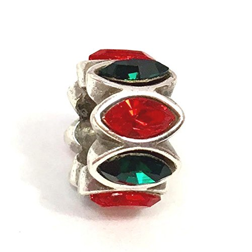 Brighton Green - Brighton Navette Spacer Red Green Bead, J95132, Silver Finish