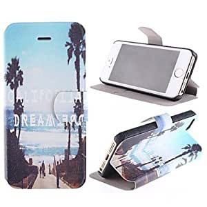 DUR Cool and Refreshing Sea Side Street Design PU Full Body Case with Card Slot and Stand for iPhone 5/5S