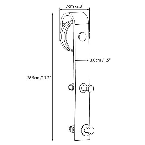 Yaheetech 8Ft Sliding Barn Door Hardware Kit Set Heavy Duty Sturdy Single Barn Door Track Antique Style Closet System Black by Yaheetech (Image #3)