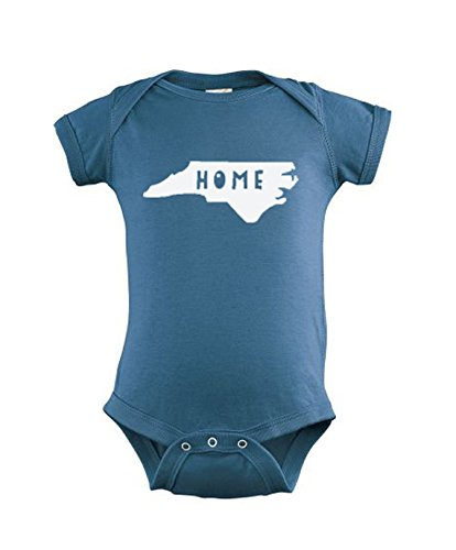 Home, North Carolina Baby Onesie, Screen Printed Baby Clothes, Indigo or Pink