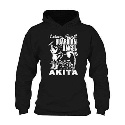 The Lucky One Have an Akita Long Sleeve Hoodie, Hooded Sweatshirt Black,L ()