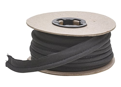 Pearl 1/2' Wide Broadcloth Cord Piping, 25 yd, Black