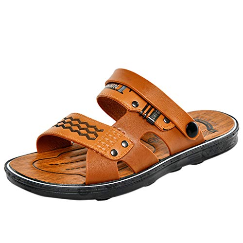 Corriee Mens Walking Shoes Flats Summer Casual Beach Slippers Mens Fashion Outdoor Sandals Orange