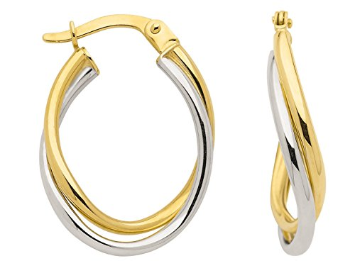 Boucles d'oreilles créoles en or jaune 333bicolore et or blanc