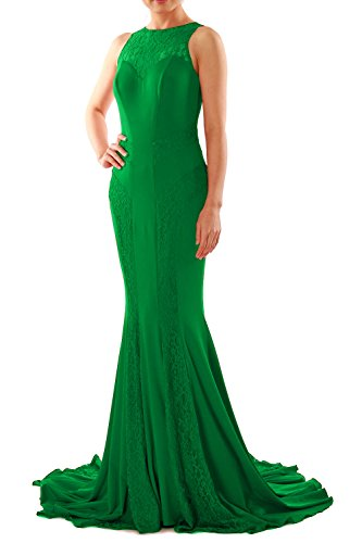 MACloth Women Mermaid Lace Boat Neck Jersey Long Formal Evening Dress Prom Gown Verde