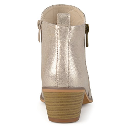 Zip Gold Heel Stacked Leather Faux Co Side Womens Brinley Booties Xwz0qS