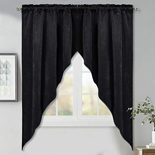 (Blackout Velvet Swag Curtains - Casual Tailored Velvet Scalloped Valance Privacy Rod Pocket Tier Curtains for Bay Window/Office, Black, 35W by 63L-Inch, Double Panels)