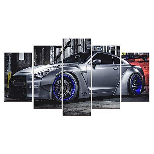 Karen Max Modulares Bild für Wohnzimmer, Wandkunst, Leinwand, Sport-Auto-Poster, Dekoration, Nissan GT-R, Malerei, Giclée-Drucke, Poster-Rahmen, 5 Stück Size 5:8x12inchx2,8x16inchx2,8x20inchx1 Frame