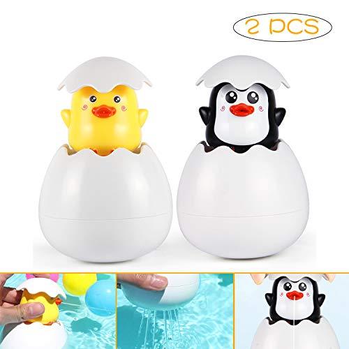 MOLECOLE Baby Bath Toys,Duck Penguin Pool Floating Bathtub Toys Easter Eggs Gift for Bathroom Pool Bath Time for Kids Toddler Baby Boys Girls
