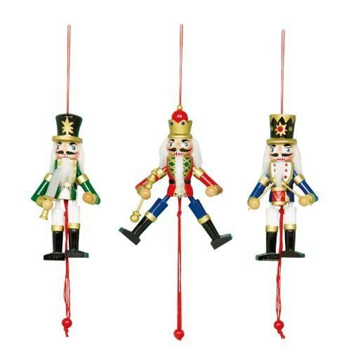 Really Nice Traditional Wooden Christmas Nutcracker Soldier Drummer Decoration/Christmas Tree Decoration/Pull Puppet Toy - Blue - 13cm (x1)