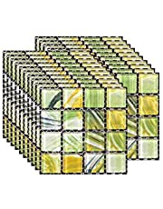 20PCS Tegelstickers, Zelfklevend PVC Stick On Tile Peel Stick Wallpaper Hitte bestendig Waterbestendig Backsplash voor Woonkamer Keuken Stick Mozaïek Stijl (10 x 10 cm / 4 x 4 inch)