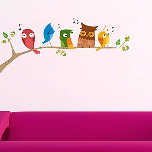 Decals Design 'Singing Funny Birds' Wall Sticker (PVC Vinyl, 25 cm x 70 cm)