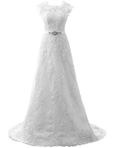 JAEDEN Cap Sleeve Lace Wedding Dresses for Bride A line Bridal Gown Dress