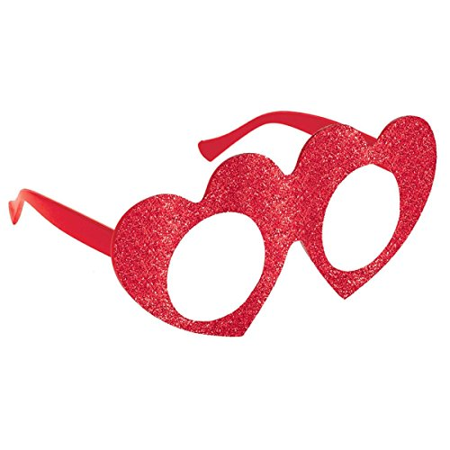 Amscan Pretty Glitter Heart Eye Glasses Valentine's Day Costume Party Accessory (1 Piece), Red, 3