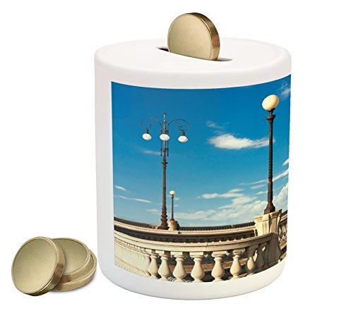Italian Piggy Bank by Ambesonne, Mascagni Terrace Street Promenade of Livorno Tuscany Artwork Print, Printed Ceramic Coin Bank Money Box for Cash Saving, Sky Blue White and - Street Promenade
