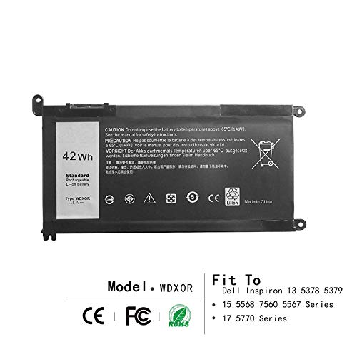 - 42Wh WDX0R Laptop Battery for DELL Inspiron 13 5368 5378 5379 7368 7378 15 5565 5567 5568 5578 7560 7570 7579 7569 P58F Series Notebook Battery Fits FC92N 3CRH3 T2JX4 CYMGM