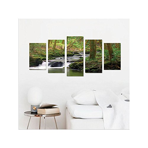 Liguo88 Custom canvas Nature Lake House Decor Stream Flowing in the Forest over Mossy Rocks Tree Foliage Splash Summertime Hiking View Bedroom Living Room Wall Hanging - Square In Nyc Times Stores