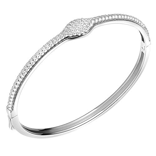 - Lavencious Hinged Bangle Bracelet AAA Cubic Zirconia 7