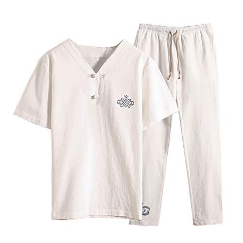 Kaister Men's Short Sleeve Jumpsuit Overalls Pants Suit Summer Fashion Casual Print Cotton Hemp Shorts White ()