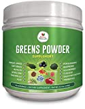 Greens Powder Supplement with Green Veggies & Fruits, Wheatgrass, Spirulina, Digestive Enzymes and Probiotics
