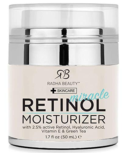 Radha Beauty Retinol Moisturizer Miracle Cream for Face - with Retinol, Hyaluronic Acid, Vitamin E and Green Tea. Best Night and Day Moisturizing Cream 1.7 fl oz. from Radha Beauty