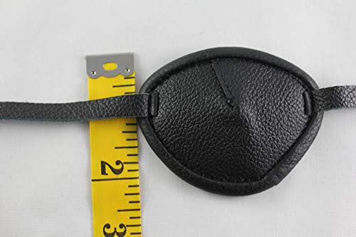 Leather Eyepatch. Slight Convex Eye Patch (Right Eye, Full Size Black) by Desantis Leather Goods (Image #3)
