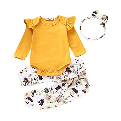 Newborn Baby Girls Outfit Ruffle Shirts Romper Bodysuit+Floral Halen Pants +Headband 3Pcs Clothes Set (Yellow, 18-24 Months) (Clothing Girl Boutique Baby)