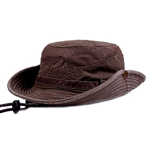 KeepSa Sun Hat for Men, Cotton Embroidery Summer Outdoor Sun Protection Wide Brim Bucket Hat Foldable Safari Boonie Hat Coffee Brown - Hat Jungle Boonie