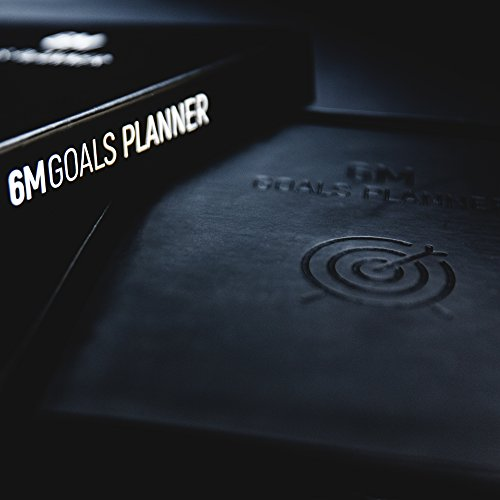 6M Goals Planner - Beautiful Undated Agenda - Daily and Weekly Journal to Achieve Goals and Increase Productivity and Happiness. Black A5 Hardcover. Photo #2