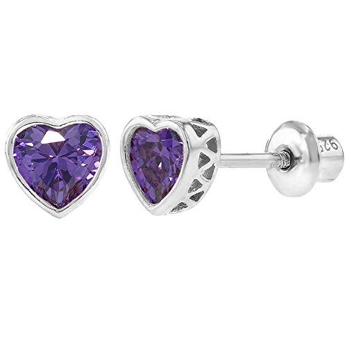 925 Sterling Silver Purple CZ Small Heart Screw Back Earrings Baby Girl - Purple Earrings Sterling