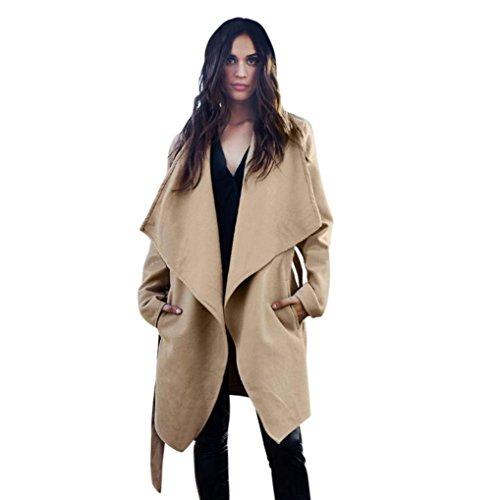Hot!Elevin(TM)Women's Fashion Slim Long Jacket Windbreaker Parka Outwear Cardigan Coat (M, khaki)