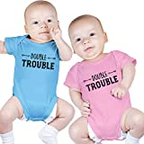 Bodysuits for Twin Boy and Girl, Includes 2 Bodysuits, 6-12 Month Double Trouble