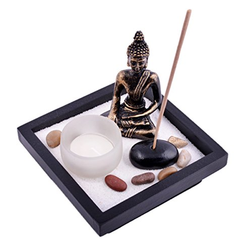 Zen Garden Garten Sand Buddha Rocks Tealight Incense Holder Feng Shui W Free Fengshuisale Red String Bracelet SKU:T1020