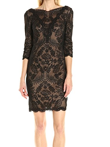 Tadashi Shoji Women's 3/4 Sleeve Embroidered Lace Dress, Black/Nude, 10