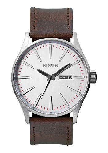 Nixon Sentry Leather A1051113-00. Silver and Brown Men's Watch (42mm Silver/White Watch Face. 23mm Brown Leather Band), Silver-Tone/Brown