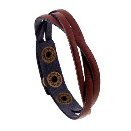 (New! Laimeng Leather Wrap Braided Wristband Cuff Punk Men Women Bracelet Bangle (Light Brown))