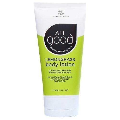 All Good Body Lotion w/ Essential Oils - Moisturizing Organic Calendula, Cocoa Butter, Coconut & Rose Hip Oil - Non GMO - Vegan - 6 oz (Lemongrass)