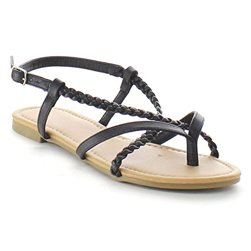 Braided Strappy Sandal (Spirit Moda Carmen-4 Summer Sandal Criss Cross Straps Open Toe, Black Braided, 7)