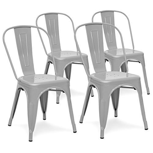 Best Choice Products Set of 4 Industrial Metal Dining Side Chairs (Silver)
