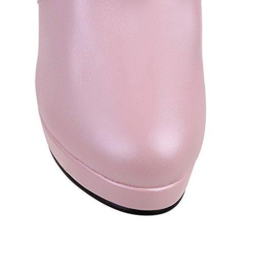 AllhqFashion Mujeres Sólido Material Suave Tacón Alto Sin cordones Puntera Redonda Botas Rosa