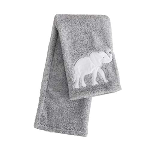 Levtex Baby Elephant Parade Plush Blanket, Grey/White